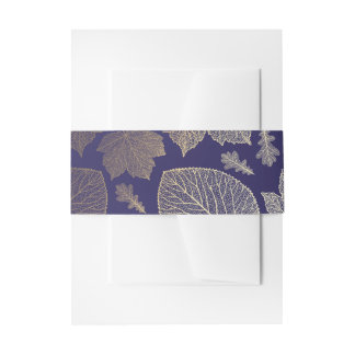 navy and gold fall leaves wedding invitation belly band