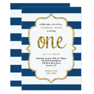 Navy and Gold First Birthday Glitter Invitation