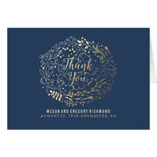 Navy and Gold Floral Bouquet Wedding Thank You Note Card