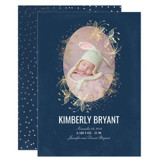 Navy and Gold Floral Chic Baby Birth Photo