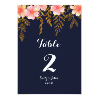 Navy and Gold Floral Table numbers