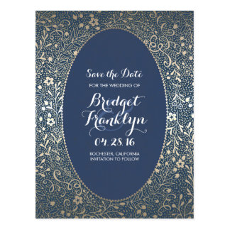 Navy and Gold Floral Vintage Save the Date Postcard