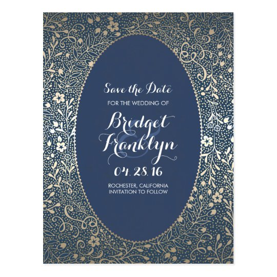 Navy and Gold Floral Vintage Save the Date