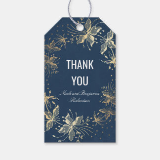 Navy and Gold Floral Vintage Wedding Gift Tags
