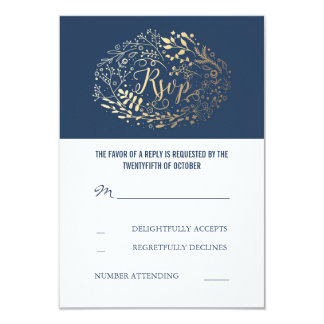 Navy and Gold Floral Wedding RSVP Cards