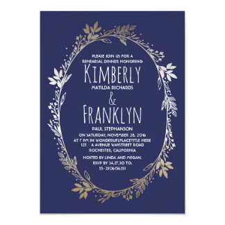 Navy and Gold Floral Wreath Rehearsal Dinner Card