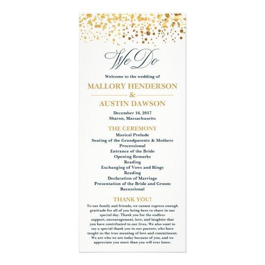 Navy and Gold Glitter Confetti Wedding Program Rack Card