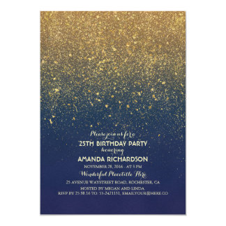 Navy and Gold Glitter Glam Vintage Birthday Party Card