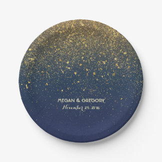 Navy and Gold Glitter Glam Vintage Wedding Paper Plate