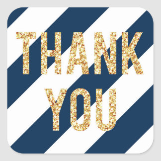 Navy and Gold Glitter Striped Thank You Stickers