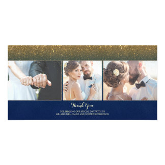 Navy and Gold Glitter Vintage Wedding Thank You Personalised Photo Card