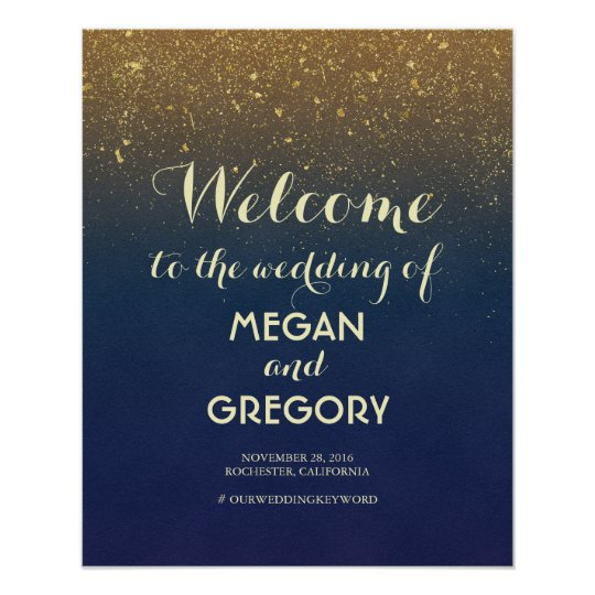 Navy and Gold Glitter Vintage Wedding Welcome Sign
