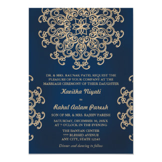 Navy and Gold Indian Inspired Wedding Card