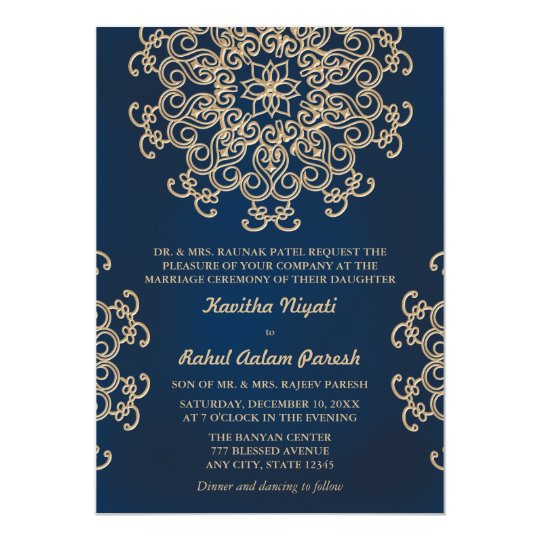 Navy And Gold Indian Inspired Wedding Invitation