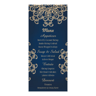 Navy and Gold Indian Style Wedding Menu Card
