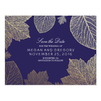 navy and gold leaves fall save the date postcard