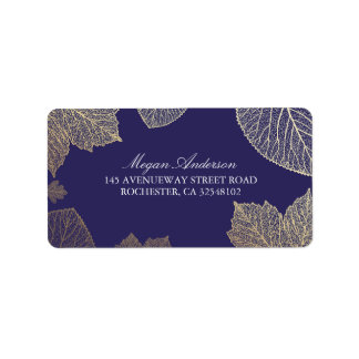 Navy and Gold Leaves Fall Wedding Address Label