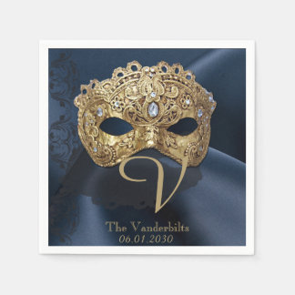 Navy and Gold Masquerade Monogram Napkin Paper Napkin