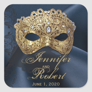 Navy and Gold Masquerade Wedding Envelope Seal Square Sticker