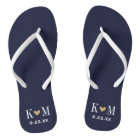 Navy and Gold Modern Wedding Monogram Flip Flops