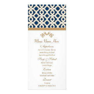 Navy and Gold Moroccan Menu Personalized Rack Card