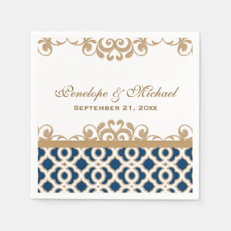 Navy and Gold Moroccan Wedding Paper Serviettes