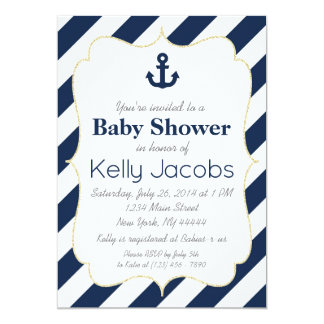 Navy and Gold Nautical Baby Shower Invitation