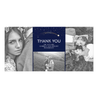 Navy and Gold Shooting Star Wedding Thank You Customised Photo Card