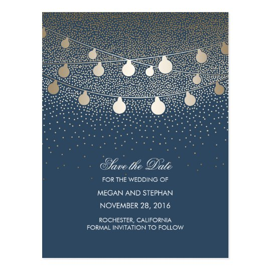 Navy and Gold String Lights save the date