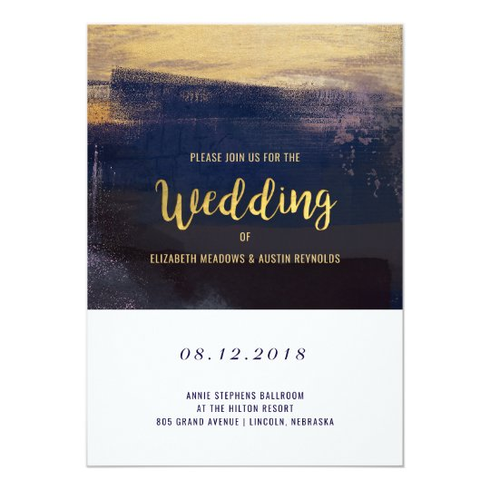 Navy and Gold Watercolor Brush Strokes Wedding Card