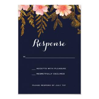 Navy and Gold Wedding invitation response card