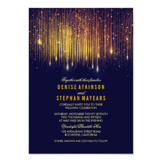 Navy and Gold Wedding String Lights Invite