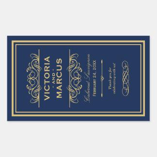 Navy and Gold Wedding Wine Bottle Monogram Favour Rectangular Sticker