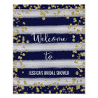 Navy and Gold Welcome Poster Print