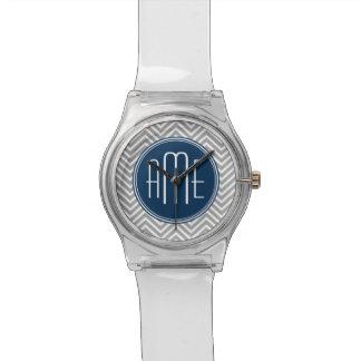 Navy and Gray Chevron Pattern Custom Monogram Watch