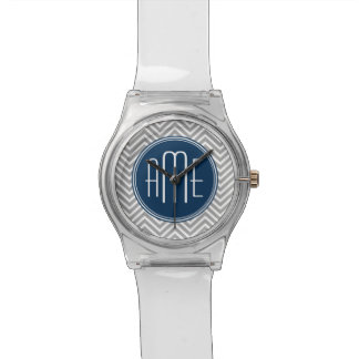 Navy and Gray Chevron Pattern Custom Monogram Wristwatches