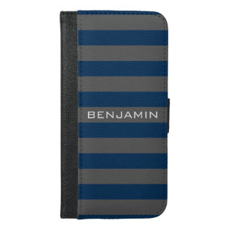 Navy and Gray Rugby Stripes with Custom Name