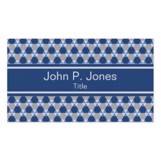 Navy and Gray Triangle Hex Pattern Business Card