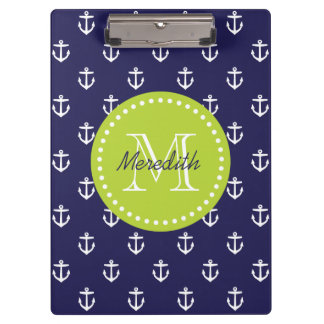 Navy and Green Anchors Custom Monogram Clipboard