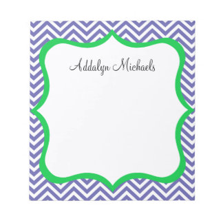 Navy and Green Chevron Personalized Notepad