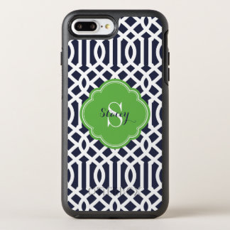 Navy and Green Modern Trellis Monogram OtterBox Symmetry iPhone 8 Plus/7 Plus Case