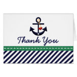 Navy and Green Nautical Anchor Thank You Note Card