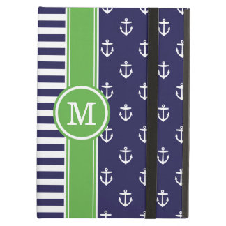 Navy and Green Nautical Anchors Monogram Case For iPad Air