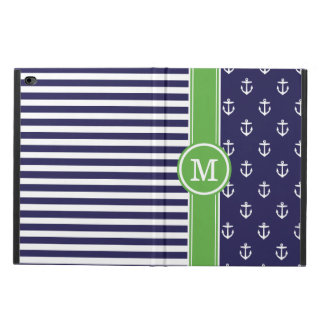 Navy and Green Nautical Anchors Monogram Powis iPad Air 2 Case