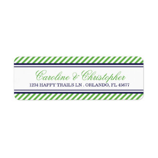 Navy and Green Nautical Wedding Address Labels