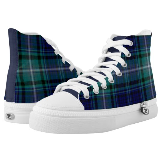 Navy and Green Plaid High Top Sneakers