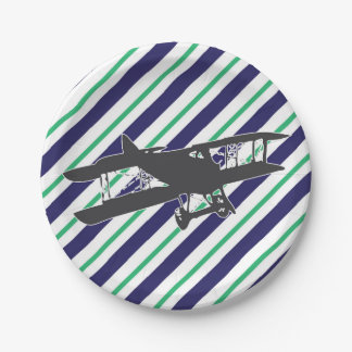 Navy and Green Vintage Airplane Paper Plates
