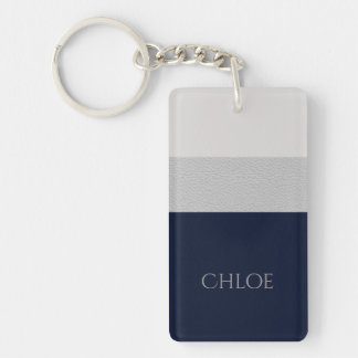 Navy And Grey Faux Leather Color Block Key Ring