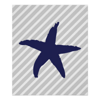 Navy and Grey Striped Nautical Sea Star Poster