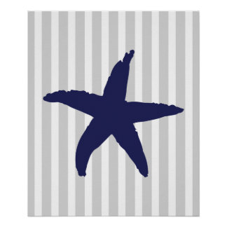 Navy and Grey Striped Nautical Sea Star Posters